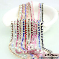 2/2.5/3mm Silver Base Rhinestone Close Chain Trim DIY Sewing Craft Crystal Chain