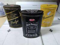 Collectable Alcohol Fudge Tins X3 Bundy Rum Jack Daniels Johnny Walker