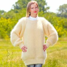 Ivory hand knitted mohair wool sweater thick fuzzy ribbed oversized jumper SALE
