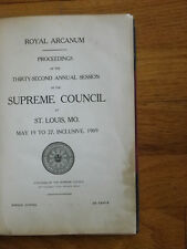 1909 Royal Arcanum Annual Proceedings Book-Leather & Board-RB Russell-RARE