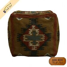 Authentic Vintage Jute Kilim Ottoman Pouf Case Home Decor Footstool Pouffe cover