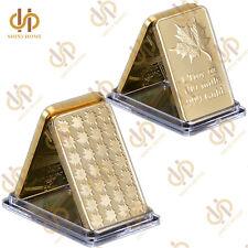 Gold Clad Bar Canadian Maple Leaf 1 Troy OZ 100 Mills 999 Gold Bar Collection