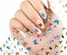 6  Sheets (random) 3D butterfly Nail  Sticker Gold Decals Manicure ship from us