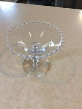 VINTAGE CLEAR GLASS PEDESTAL? CANDY DISH, BEADED/HOBNAIL EDGE,5 INCHES TALL