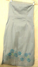 Express womens Dress size 10 Strapless Blue Black White Pinstripe embroidered