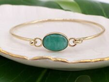 Untreated Colombian Emerald Solid 14K Gold Artisanal Bangle Bracelet, Sz 6-6.5""