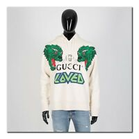 GUCCI 1400$ Hooded Sweatshirt With Tiger Print In Ivory Off White Cotton