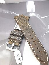 On Sale 24mm Patina design Euro leather watch band Semi Padded