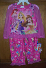 Disney Princess Ariel Rapunzel Beauty 2 Pc Long Pajamas Set Toddler Girls 2T NIP