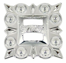 """Western Cowboy Tack Set of 6 Bright Silver Plated 1 1/2"""" Square Slotted Concho"""
