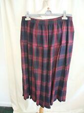 "Ladies Skirt custom made, waist 32-34"", length 31"", burgundy/navy check 1945"