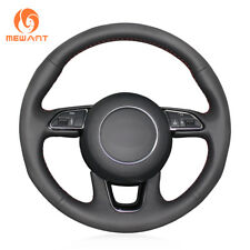 DIY Black Artificial Leather Steering Wheel Cover Wrap for Audi Q3 Q5 2013-2015