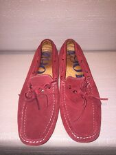 Men's Shoes 1901 Red Suede Casual Lace Up Loafers M05711 Size 10M