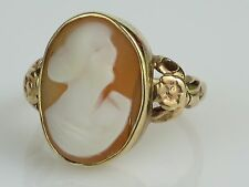 Vintage c1950s Coral Cameo 10 K Gold Ring, 4g, Size 5 1/2