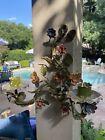 Pr Antique Italian Painted Chippy Tole Flower Leaf Candle Wall Sconces Enamel