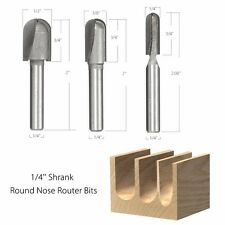 3Pcs 1/4'' Shank 1/4'' 3/8'' 1/2''  Diameter Core Ball Round Nose Router Bit Set