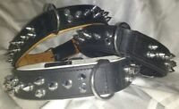 SPIKED Leather Dog Collar BLACK DOUBLE THICK WIDE MUSCLE DOGS MEDIUM large SIZES