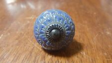 Hand-made Hand-painted Ceramic Drawer Knob - Blue flower - S55