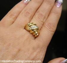 Vintage 14k Yellow Gold Swirl Dome Shrimp Ring w/ Diamonds Size 6 Band 7.5 Grams
