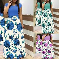 Women Summer Maxi Sundress Short Sleeve Plus Size Gown Sexy Floral Dress Fashion