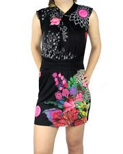 BNWT Desigual Vest Dress SILVI Rep Black Belted FLower Floral XL UK16 69V20D6