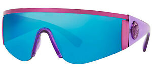 NEW Genuine VERSACE TRIBUTE Pink Blue Mirror Shield Sunglasses VE 2197 1464/55