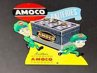 """VINTAGE AMOCO SERVICE STATION BATTERIES W/ ATTENDANT 13"""" METAL GASOLINE OIL SIGN"""