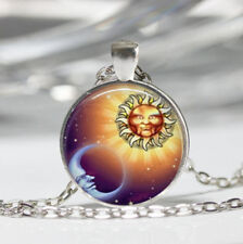Sun and Moon Tibet silver Dome Glass Cabochon Necklace chain Pendant #206