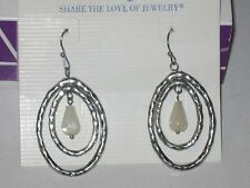 -Rv $36 Pretty & Very Rare Lia Sophia Flurry Earrings - Genuine Mother-Of-Pearl
