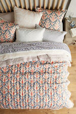 Anthropologie Kerry Cassill Taupe/Peach Ikat Queen Quilt
