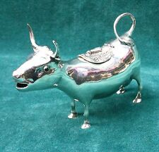 MAGNIFICENT GERMAN 800 SILVER WITH COLOR GLASS EYES COW CREAMER BY B&Z