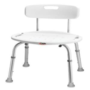 Carex Adjustable Bath & Shower Seat with Back and Notch for Disability People