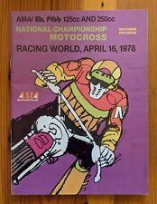 Vintage 1978 National Championship Motocross Racing World Race MX Program