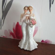 TWO BRIDES Wedding Cake Topper | Gay | Female Same Sex | Glittery Dresses