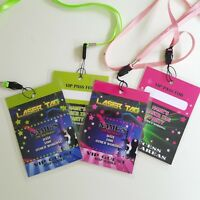 Personalised Laser Tag VIP Pass Lanyard for Birthday Party Invite