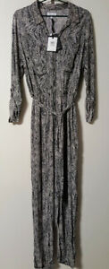 TABLE EIGHT Snake Print Jumpsuit Womens 14 Tag Price $149.99 Pockets 4 Self Belt