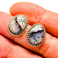"Dendritic Opal 925 Sterling Silver Earrings 3/4"" Ana Co Jewelry E408277F"