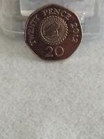 2012 RARE Balliwick Of Guernsey 20p circulated coin