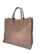 Ladies 100% soft Italian Leather Handbag Large Shopper Beige-Tan-Brown -NEW IN!