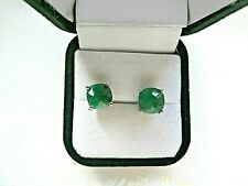 Sterling Silver Emerald Pierced Earrings
