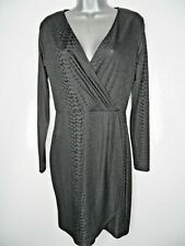 FRENCH CONNECTION Black Wrap Effect Dress Size 10 Python Print Stretch Party