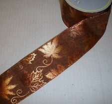 New 10yd Roll Copper Leaf Design Fabric Wire Edge Christmas Ribbon 2.5in Wide