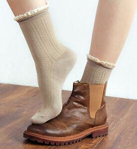 Ladies Cute Unique 50's Retro Cotton Rib Knitted Ankle/Crew Lace Trim Socks 4-6