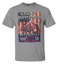 Harley-Davidson Men's American Poster Short Sleeve T-Shirt, Premium Heather Gray