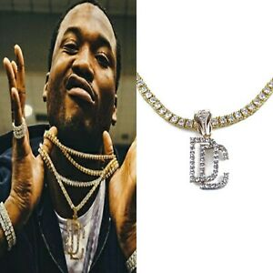 DC DREAM CHASERS PENDANT TENNIS DIAMOND SOLITAIRE GOLD CHAIN NECKLACE MEEK MILL