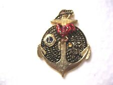 Lions Club Pin Anchor Rope Sailor R.I.Rooster Chicken  D 42 Vintage