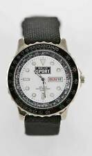 Relic Sport Watch Mens Day Date Stainless Silver Leather Black 50m White Quartz