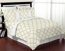 Modern White and Gold Trellis Lattice 3 Piece Bed in a Bag King Bedding Set Coll