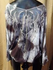 #2108-6 Boho Chic Brown & Beige Tie-Dye Batwing Top with Lace Back W - S