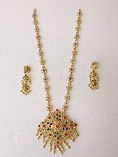 Sparking L Sq Color Stone Set Thai Wedding Traditional Jewelry Necklace Earring